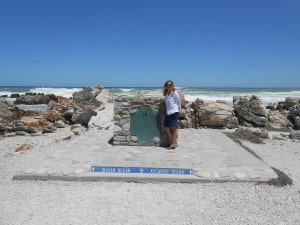 At Cape Agulhas - the tip of Africa where the Atlantic and Indian Oceans meet.