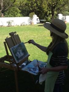 Enjoying painting 'en plein air'.